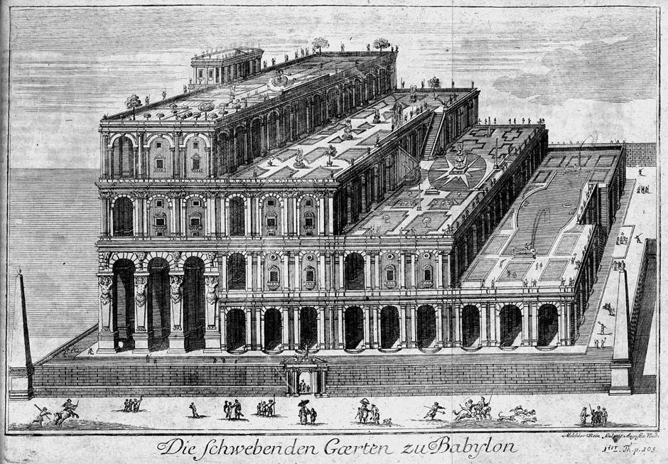 Représentation des Jardins suspendus de Babylone par Athanasius Kircher (impression de 1726), avec des formes architecturales baroques de son temps.