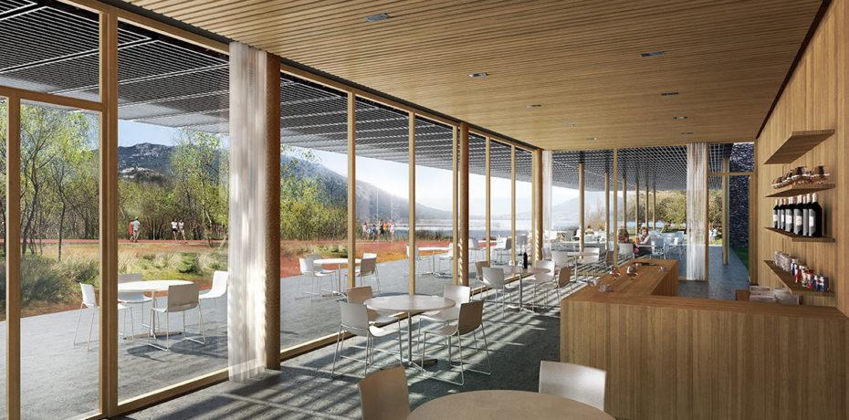 Vue depuis le restaurant / Maison de site/ Halle au Clermontais. Crédit : Atelier Sites-Véronique Joffre architecture